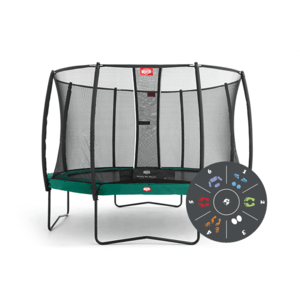 Батут Berg Elit+Regular Green Tattoo 430+Safety Net T-series 430
